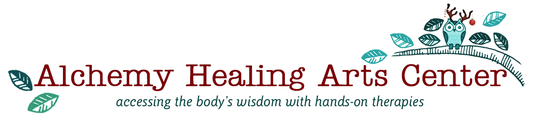 Alchemy Healing Arts Center Logo with Owl and Branch